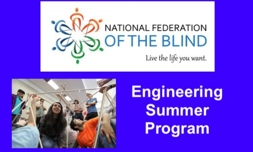 """NFB Logo and photo of students working on a STEM structure; text, """"Engineering Summer Program"""""""