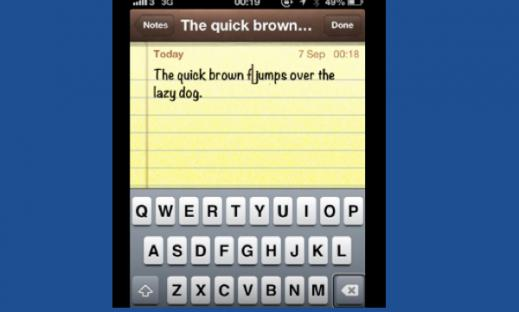 """Screenshot of the Notes app displaying the text, """"The quick brown f (cursor) jumps over the lazy dog."""""""