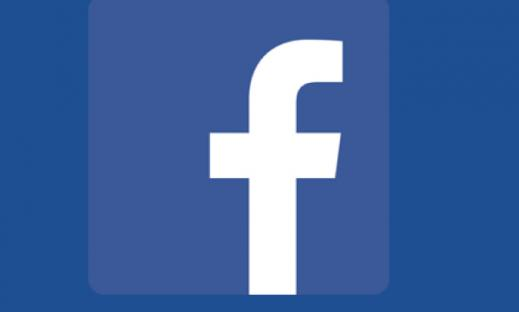 "Facebook logo:  White small case letter ""f"" on blue background."