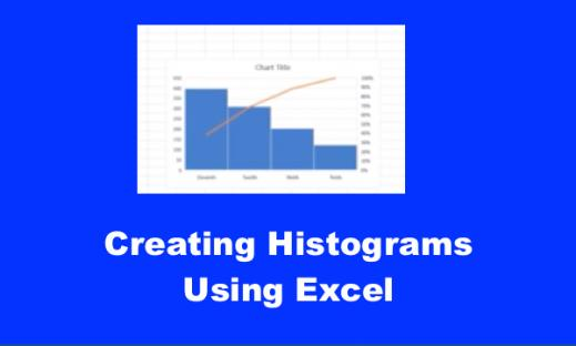 """Screenshot of Excel spreadsheet with Histogram and text, """"Creating Histograms Using Excel""""."""