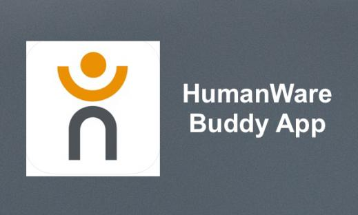 "HumanWare Logo and text, ""HumanWare Buddy App"""