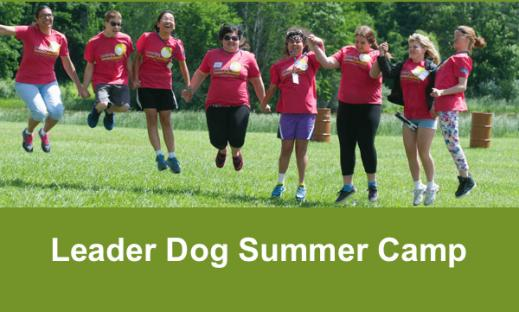 """8 teenagers holding hands and jumping into the air with text, """"Leader Dog Summer Camp"""""""