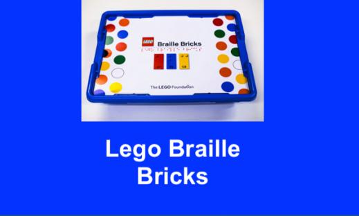 "Lego Braille Bricks kit (container filled with braille legos) and text, ""Lego Braille Bricks"""