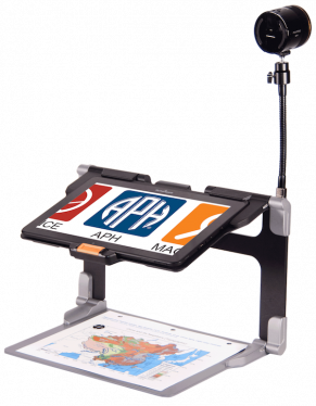 MATT-12 video magnifier: combination of an Android tablet in a stand with an external camera connected to the stand.