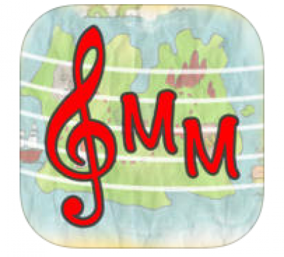 "App logo: red treble clef and ""MM""."
