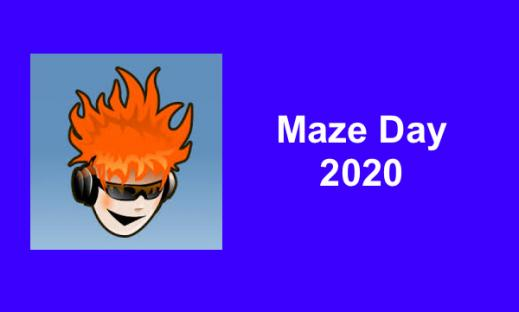 """Maze Day logo: Smiling cartoon boy with flaming red hair wearing sunglasses and headphones. Text, """"Maze Day 2020"""""""
