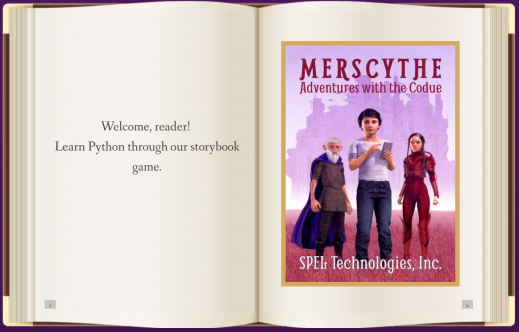 Merscythe: Adventures with the Codue teaches Python programming to students with visual impairments and blindness.