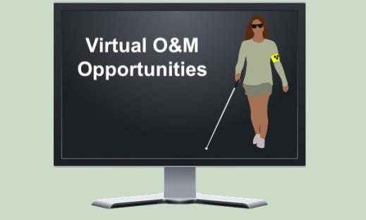 """Computer screen showing cartoon image of woman using a cane and text, """"Virtual O&M Opportunities"""""""