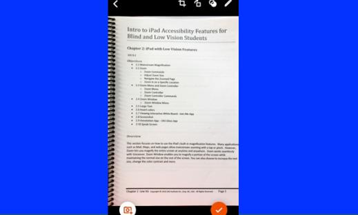 Screenshot of Office Lens app displaying a scanned manual page with options to scan another page or done buttons.