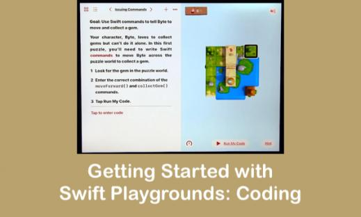 Screenshot of Swift playgrounds showing commands on left side and World Grid on right side.