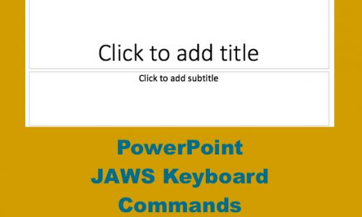 """Image of PowerPoint blank slide and text, PowerPoint JAWS keyboard commands"""""""