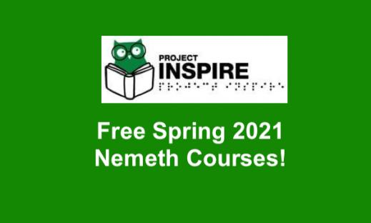 """Project INSPIRE logo and text, """"Fee spring 2021 Nemeth Courses!"""""""