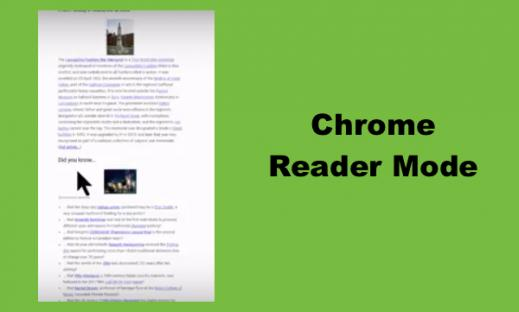 "Image of Wikipedia website with Reader Mode - one column of text with two images. Text, ""Chrome Reader Mode"""