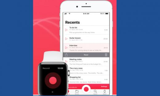 Apple Watch and iPhone displaying Just Press Record app.