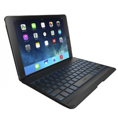 Image of an iPad with a Bluetooth keyboard.