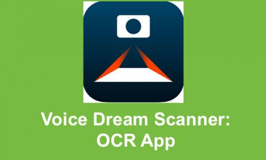 "Voice Dream Scanner logo and text, ""Voice Dream Scanner: OCR App"""