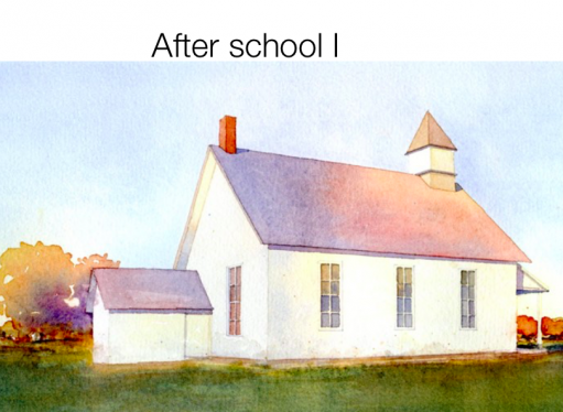 Old fashion one room school house.