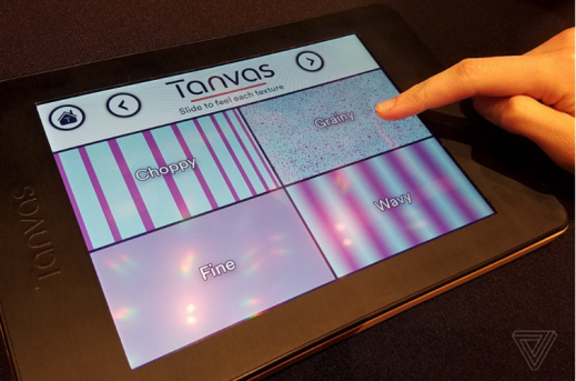 "Photo of a tablet displaying the Tanvas app screen with ""choppy"" lines, ""grainy"" dots, ""fine"" tiny dots, and ""wavy"" lines."
