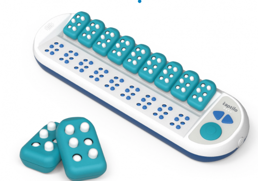 Tapilo device: 9 removable braille blocks with push in pins that attach to a simple braille display.