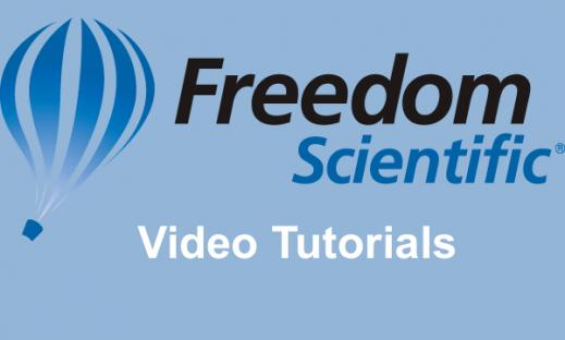 "Freedom Scientific logo and text, ""Video Tutorials"""