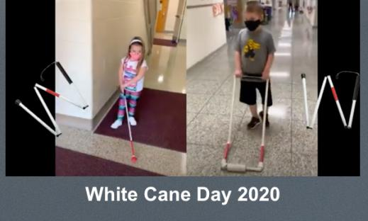 """Photos of two students walking in a school hallway: 1 using a long cane & 1 using an AMD. """"White Cane Day 2020"""""""