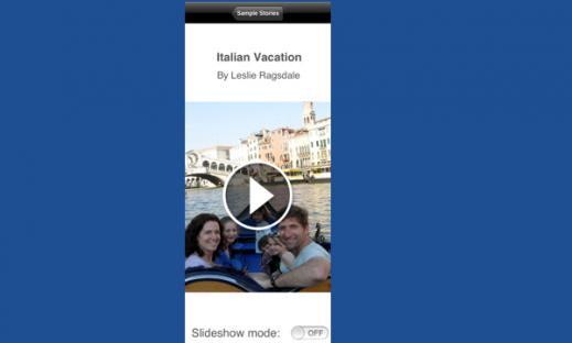 A family on a gondolla ride in Italy. Tell a story through the picture and slide show app Pictello.