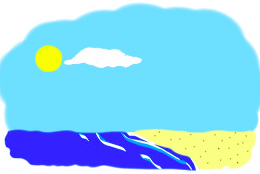 drawing of a beach, water and sky above.