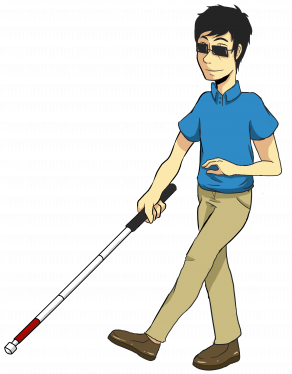 Cartoon man walking confidently with a long cane.