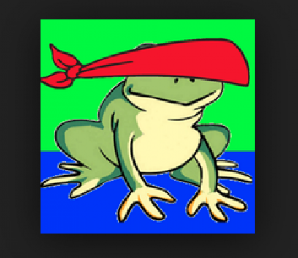Image of Blindfold Hopper App: green frog with red blindfold