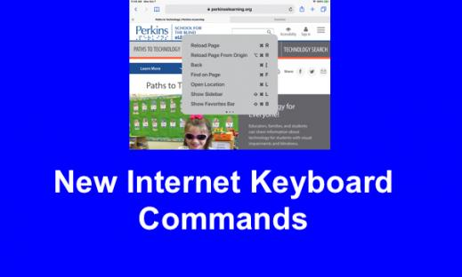 """Screenshot of Paths to Technology home page with with keyboard command popup and text, """"New Internet Keyboard Commands"""""""