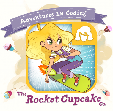 Rocket Cupcake Co Logo - cartoon girl on a skateboard
