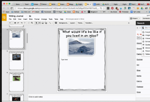 "Screenshot of Google Slides with the writing prompt, ""what would life be like if you lived in an igloo?"" and image of igloo."