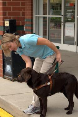 Woman standing at the curb praising her guide dog.