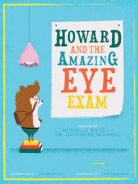 "Howard the Hedgehog standing before a sign, ""Howard and the Amazing Eye Exam""."