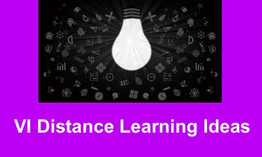 "Blackboard filled with symbols and a large light bulb with text, ""VI Distance Learning Ideas"""