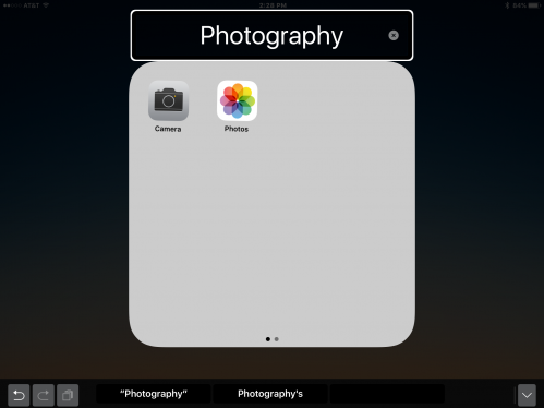 Screenshot of the Photography Folder with Camera and Photos apps.