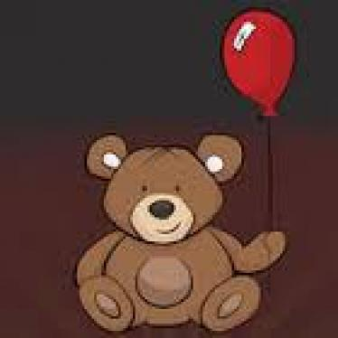 Tap-N-See Logo; brown stuffed animal bear holding a red balloon