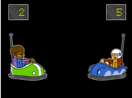 Screenshot of Bumper Cars: Two people in bumper cars with the scores 2 and 5 listed at the top of the screen.
