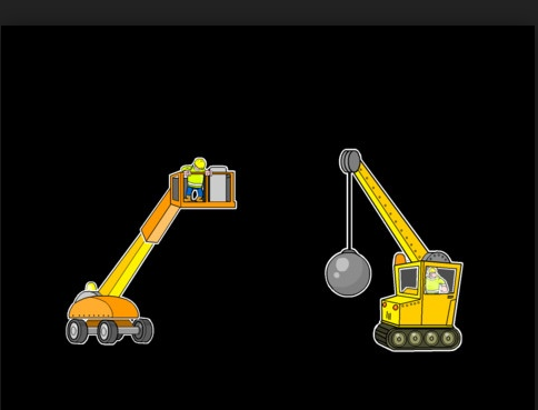 Screenshot of Big Trucks app: crane with wrecking ball and a man-lift.