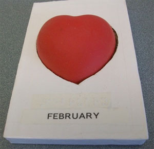 The symbol for February is a red heart