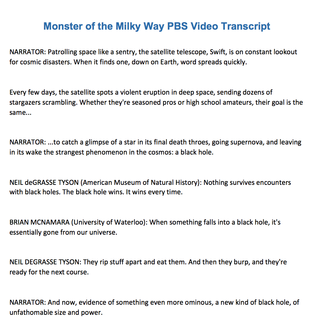 Transcript of the Milky Way PBS video