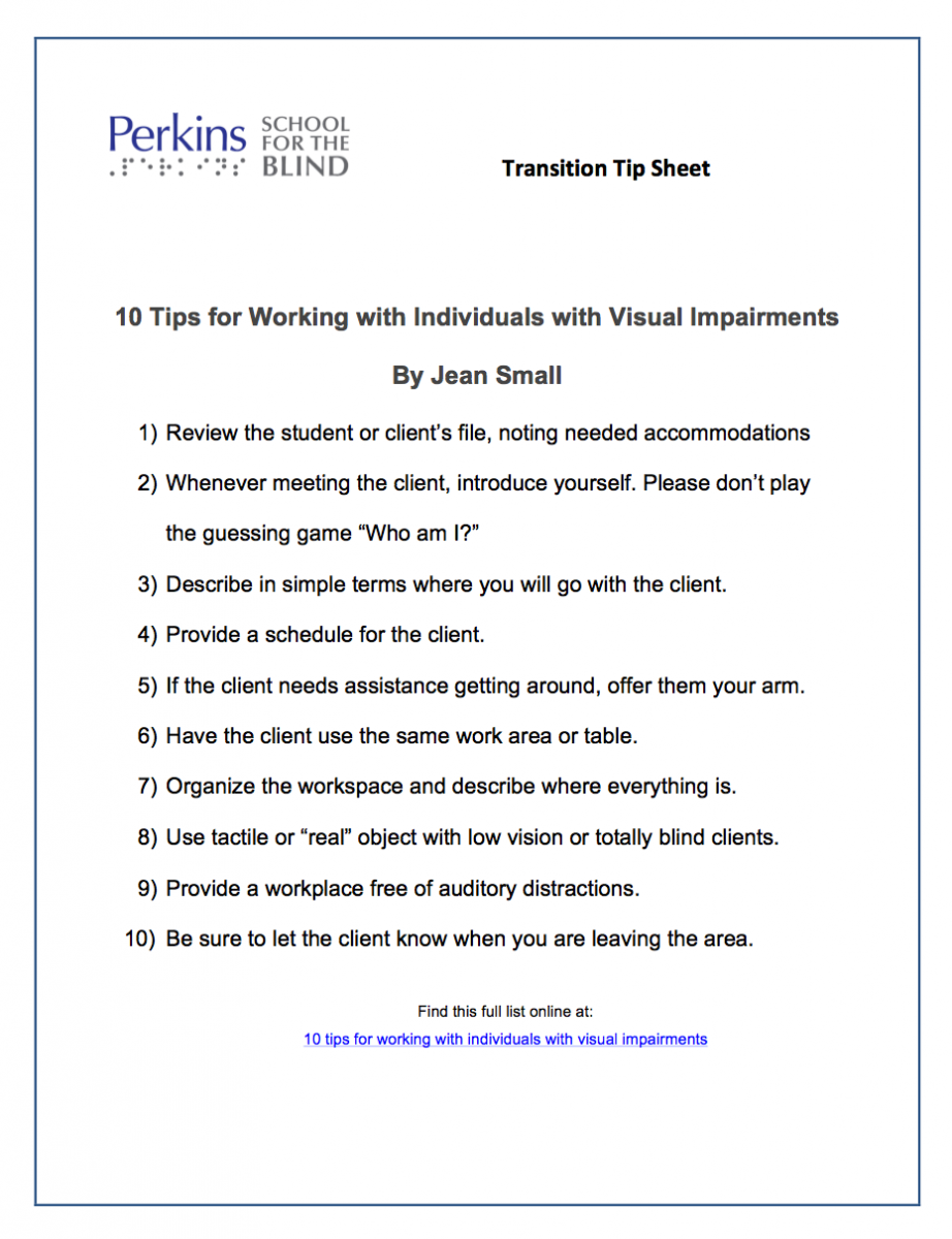 Tip sheet of 10 Tips for Working with Individuals with Visual Impairments