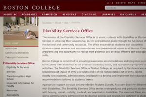 An example the webpage for the Disability Services Office at Boston College.