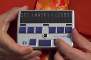 A Refresh-a-Braille utilizes a combination of a Braille keyboard.
