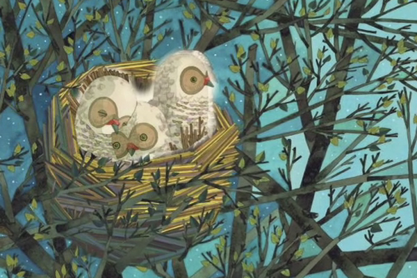 An illustration from the children's book Sweet Dreams shows a nest with three fluffy owl chicks.