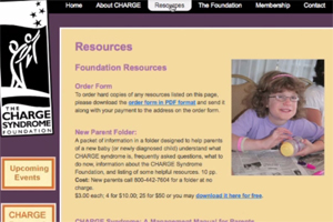 The home page of the CHARGE Syndrome Foundation.