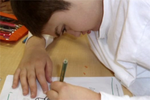 An adolescent boy sits at a desk, writing with a green pencil.