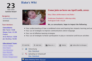 "A page from a Web site titled ""Blake's Wiki."""