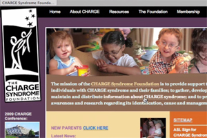 A screen shot of CHARGEsyndrome.org website.