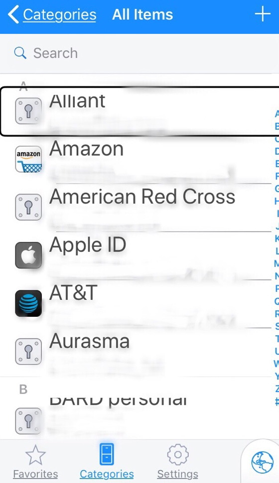 1Password screenshot of All Items page displaying list of apps/items with stored passwords.